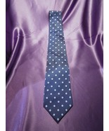 Lauren by Ralph Lauren Silk Tie Hand Finished Blue Polka Dot Pattern - $26.73