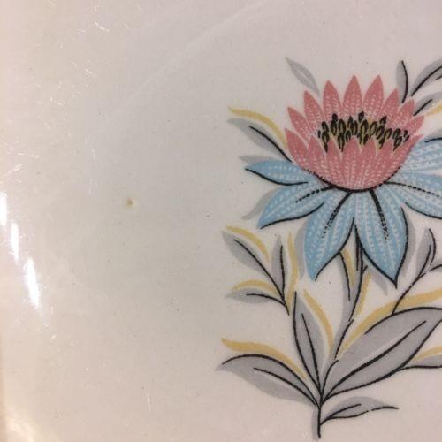 2 Vtg. Fairlane Steubenville Pottery Co. Pink Blue Flower Fruit Sauce Dish Bowls