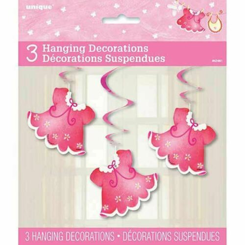 Pink Clothesline Girl 3 Ct Baby Shower Hanging Decorations