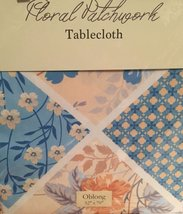 Floral Patchwork Yellow Blue Fabric Tablecloth 52 x 70 Oblong - €15,40 EUR