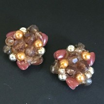 Vintage Rusty Red Bronze Amber Plastic Bead Cluster Clip Earrings – 1 an... - $11.29