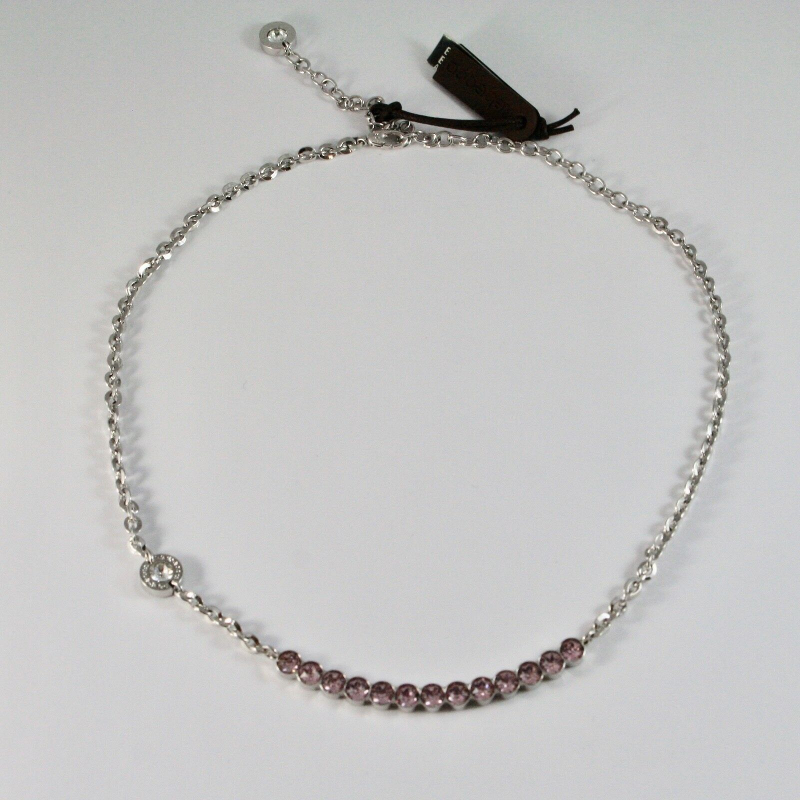 Necklace Rebecca in Bronze with Pink Crystals Diamond Cut BPBKBA14