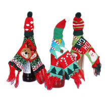 Santa Claus Champagne Wine Bottle Knitting Hats Scarf Xmas Party Table D... - $3.09