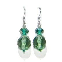 Green Crystal Double Bead Sterling Silver Dangle Earrings - $20.99