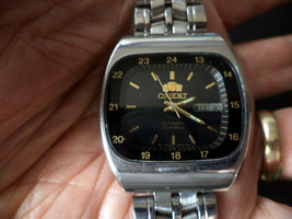 Scarce! Vintage Men's Orient Tv Dial 21J CAL.46941 Beautiful All Ss Wristwatch. - $128.70
