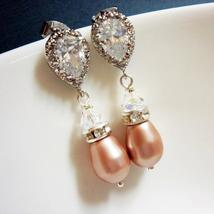 Rose Swarovski Bridal Earrings - Cubic Zirconia Pearl Teardrop - $41.00