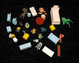 Dollhouse Furniture Lot Vintage Dolls Figures m... - $22.99
