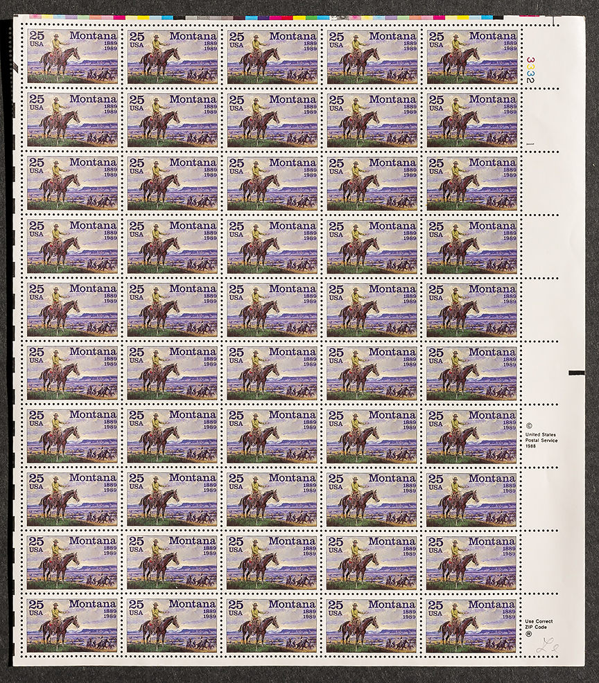 Montana Statehood Stamp 1889-1989, Sheet of 25 cent stamps, 50 stamps total