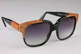 Vintage Women's Black Emmanuelle Khahn Ostrich Leather 8080 16 OS Sunglasses