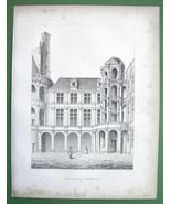 ARCHITECTURE PRINT Engraving: France Chambord Castle Interior Court - $6.74