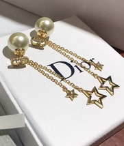 Authentic Christian Dior 2019 CD LOGO CHAIN STAR DANGLE DROP Earrings image 11