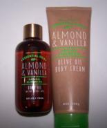 2 Pc Bath &Body Works Essential Oils Almond & Vanilla Body Cream & Body Oil - $23.50
