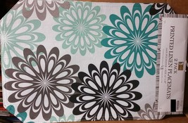 """Set Of 4 Linen Fabric Placemats 12"""" X 18"""", Flowers By Bh - $15.83"""