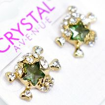 Crystal Avenue Silver Tone Pirate Skull w Green Star Charm Post Earrings image 3