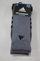 Adidas Men's 3 Pack Cushioned Moisture Wicking Crew Socks Shoe 6-12 New - $14.84