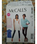 Womens/Misses Easy Pullover Tops Tunics Sewing Pattern/McCall's M6793/XS... - $7.70