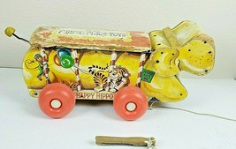 "Fisher Price Wood Pull Toy ""Happy Hippo"" #151 year 1962 - $23.36"