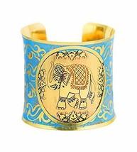 Indian Desire Brass   Ethnic Elephant  Cuff Bracelet in Gold Tone for Women - $27.54