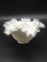 "Fenton Glass White Bowl Silver Crest Ruffeled 3-5/8 Tall x 6-1/2"" Wide (... - $18.81"