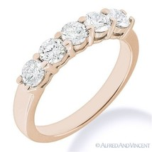 Forever ONE D-E-F Round Cut Moissanite 14k Rose Gold 5-Stone Band Wedding Ring - £329.13 GBP - £1,660.99 GBP