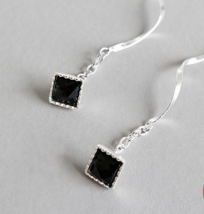 Sterling Silver Elegant Earrings Black Cubic Zircon Earrings - $2.70