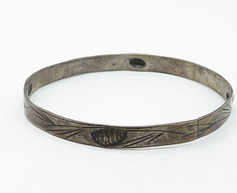 STUART NYE 925 Silver - Vintage Antique Floral Vine Bangle Bracelet - B4839 image 2
