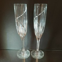 2 (Two)  MIKASA UPTOWN Cut Lead Crystal Champagne Flutes DISCONTINUED - $26.59