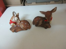 """Christmas , Deer , Porcelain , 5""""X5"""" , Lot of 2 , Vintage , Collectible - $21.78"""