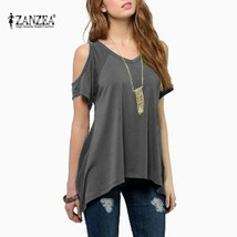 4 Colors ZANZEA Summer 2018 Women Off Shoulder Round Neck Short Sleeve Blouses C - $40.50