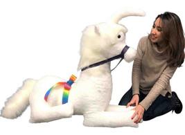 American Made White Giant Stuffed Unicorn Soft 4 Feet Wide, 3 Feet Tall - $179.99