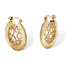 PalmBeach Jewelry Scroll Cutout Hoop Earrings in Yellow Gold Tone - $15.29