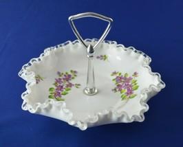 Fenton Silver Crest Violet In Snow Bonbon Handled #7498 - $14.85