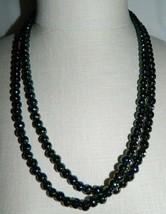VTG Art Deco Flapper Style Black Aurora Borealis Glass Faceted Beaded Necklace - $74.25