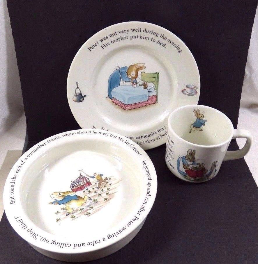 Wedgwood England Peter Rabbit Children 3 Piece Nursery story Set bowl plate cup