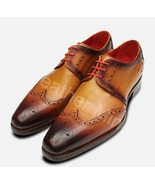 Handmade Men's Tan Leather Derby Shoes, Men leather lace up dress shoes - $159.99+