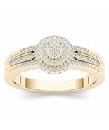 IGI Certified 14k Yellow Gold 0.18 Ct Diamond Cluster Halo Engagement Ring - £407.83 GBP