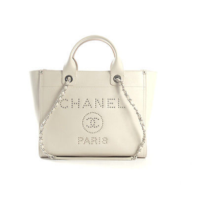 7a609aaf53eb 1. 1. Previous. CHANEL A57069 Shopping Tote Chain Shoulder Bag Caviar skin  Ivory Auth New Unused