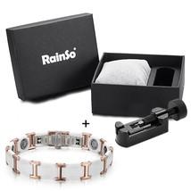 Rainso Black Ceramic Tungsten Steel Charm Magnetic Health Care Link Brac... - $77.15