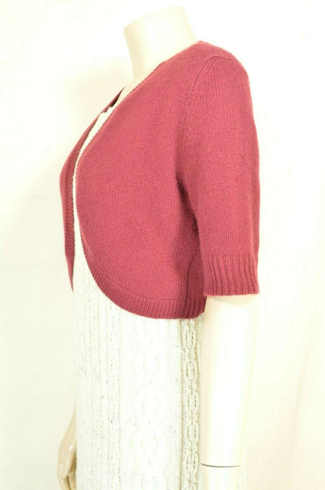 Neiman Marcus sweater M NWT red 100% cashmere shrug bolero cropped $195 new image 11