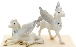 Hagen-Renaker Miniature Ceramic Pegasus Figurine Standing and Lying Set of 2