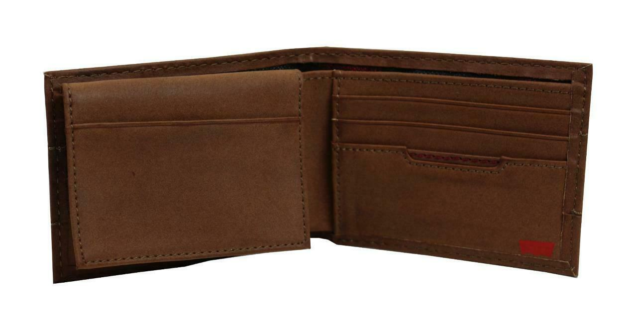 NEW LEVI'S MEN'S PREMIUM COATED LEATHER BILLFOLD CREDIT CARD WALLET TAN 31LV2216 image 5