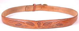 Vtg Western Leather Belt-Lizard Skin Inlay-Brown-Distressed-Solid Brass ... - $46.74