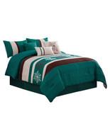 11-Pc Winter Wonderland Snowflake Comforter Curtain Set Teal Green Brown... - $117.54