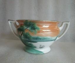 Art Deco H PAINTED SCENIC SWAN Lake NORITAKE Lusterware Sugar Bowl Plati... - $29.65