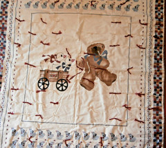 """Bear with Wagon Geese Crib Comforter Country Quilt 34"""" x 43"""" - $14.50"""