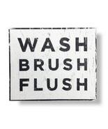 Kids - Wash Brush Flush - Rustic Wooden Sign - 14 x 14 - Bathroom Item 3... - $34.00