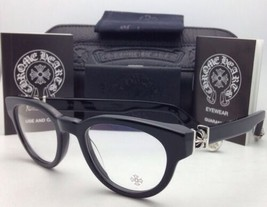 New CHROME HEARTS Eyeglasses KAY GULLS BK 47-20 Black Frame with Sterling Silver