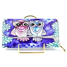 Bijorca Blue & Pink Night Owl Couple Clutch Wallet New w Tags image 2