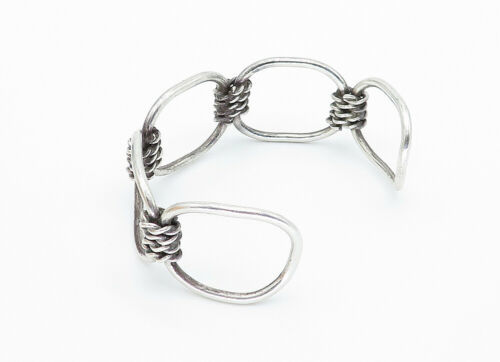 MEXICO 925 Silver - Vintage Open Designed Twist Link Cuff Bracelet - B5802