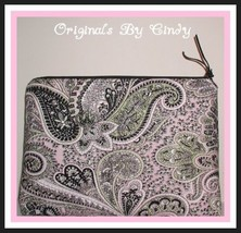 Pink And Black Makeup Bag, Paisley Cosmetics Pouch, Pink Sage Black Case - $311,15 MXN